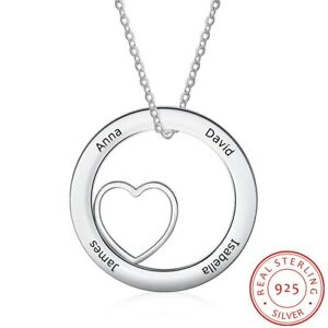 925 Sterling Silver Personalize Necklace Custom Jewelry Round Pendant Heart Gift