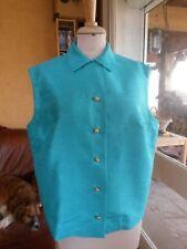 CHEMISIER FEMME CHEMISE turquoise T48 VINTAGE 50/60 WOMAN SHIRT BLOUSE size XXL