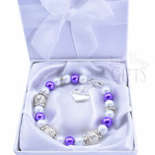 Personalised Bright Purple Pearl Bracelet - Choice of Heart Charm  Free Gift Box