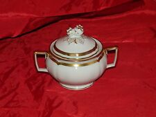 Ceralene Raynaud Limoges MARIE ANTOINETTE Sugar Bowl Gold Band Scalloped w/ Lid