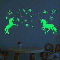 Einhorn Sterne Fluoreszierend Wand Stickerswall Aufkleber Kind Schlafzimmer LuGe