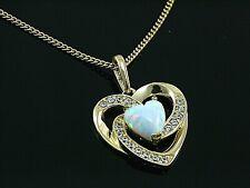 333 Goldkette mit Herz Anhänger in Größe 14 mm x 12 mm mit Opal und Zirkonia