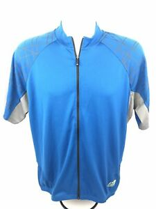 Bellwether Mens Large Blue Full Zip Athletic Wear Leasuire Cycling Jersey