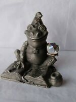 "OOPS Vintage Pewter Figure 1.5 "" Frog Wizard W/ Crystal Ball And Magic Book 1988"