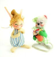 VINTAGE ANNALEE Bunny Rabbit In A Straw Hat & Mouse Holding Flowers  6 in & 8 in
