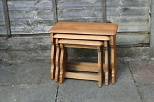CHARMING NEST OF 3 TABLES REFINISHED LIGHT OAK RUSTIC COUNTRY STYLE VGC
