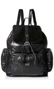 NWT Australia Luxe Collective Black Baldwin Shearling Fur Leather Backpack $695