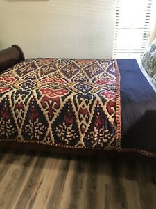 Anthropologie Qawaya King Size Quilt Silk/Cotton Bed Cover Fringes