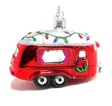 Camper Ornament Noble Gems Decorated Glass Red Camper Trailer by Kurt Adler