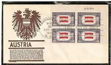 SCOTT 919 AUSTRIA OVERRUN NATIONS FIRST DAY COVER PATRIOTIC NAME PLATE BLOCK
