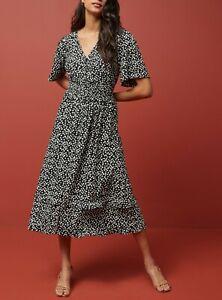 NEXT Black White Polka Dot Spot Midi Dress Size 14 BNWT RRP £34 Party Formal