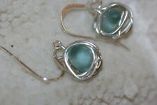 genuine aqua beach glass sea glass real sterling silver wire wrapped earrings
