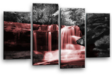 Waterfall Forest Canvas Art Picture Grey Red White Trees Wall Print Split 4panel