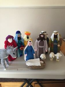 Hand Knited Nativity 9 inches tall