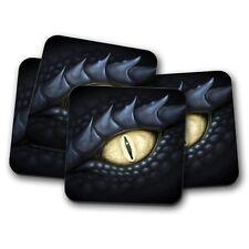 Conjunto de 4-Negro fresco Posavasos Ojo De Dragon-DRAGONES DE Regalo Divertido Teen Para Juegos #8799