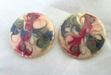 """Gold Tone Painted Design 1 1/8"""" Vintage 1980s Round Stud Pierced Earrings"""
