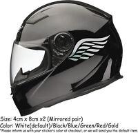 ANGEL WINGS Motorbike Helmet Sticker Car Decals (MirroredPair) 80mm x 40mm/each
