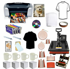 8in1 Pro Sublimation Heat Transfer Press Printer Refil Ink Tshirts Phone Bundle