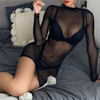 Women Sheer Mesh See-Through Long Sleeve Sexy Crop Top Clubwear Short Dress
