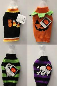 4-SET XXS HALLOWEEN DOG SWEATERS Halloween Costumes Pumpkin Knit Teacup Pups NEW