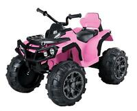 12V Kids Electric ATV Ride On Toy Car Battery w/ 2 Speed, LED Light, Sound, PINK
