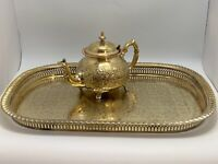 Vintage Handcrafted Moroccan Tea Serving Tray Set 1 Teapot 1 Tray