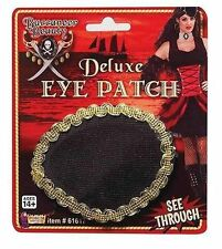 NEW Pirate SEE THROUGH Deluxe Eye Patch Black/Gold Halloween Costume Accessory