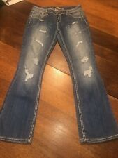 Almost Famous Womens Jeans Destroyed Jr Bootcut Sz 11