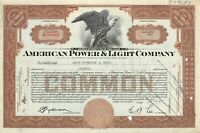 American Power & Light Company Common Stock Certificate Less than 100 1930's