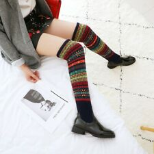 Ladies Pull On Thigh Stretchy Over The Knee Boots Stripe Sexy Winter Shoes Lady_