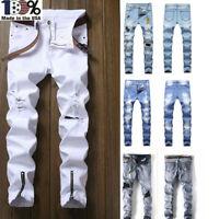 Autumn Men's Ripped Skinny Jeans Destroyed Frayed Slim Biker Denim Pants Zipper