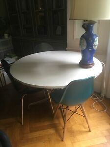 White Eames style circular dining/conference table