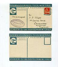 Switzerland 1922 Special Flight Postcard Zurich Aviation Meeting Muller 115
