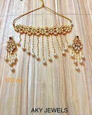 Bollywood Gold Tone Kundan Choker Style Bridal Necklace Latest Jewelry Set
