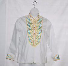 Bob Mackie Mandarin Collar Embroidered Shirt Jacket Size S White