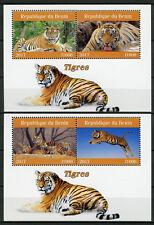 Benin 2017 MNH Tigers 2x 2v M/S Tigres Big Cats Wild Animals Stamps