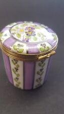 Vintage   Limoge Porcelain Hand Painted  circular trinket box