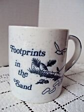 Mug Footprints In The Sand Inspirational Coffee Cup Blue Imprint Beach Scene