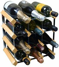 12 Bottle Wine Rack Storage Holder - Fully Assembled - Light Wood