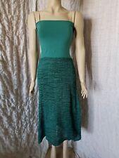 La Bottega Di Brunella green silk gonna crushed skirt dress size 48 IT, BNWOT
