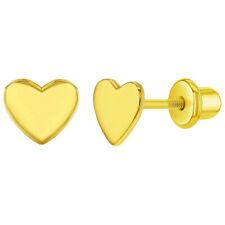 925 Sterling Silver Plain Small Heart Safety Screw Back Earrings for Girls