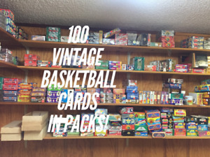 100 BASKETBALL CARD LOT In Sealed Wax Packs, NEW Unopened, Old Vintage NBA Cards