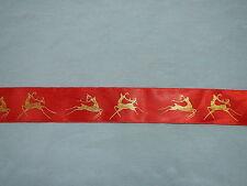Christmas Ribbon Satin Red/Gold Reindeer 38mm x 25mts