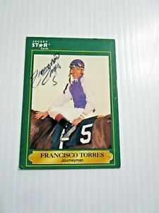 1991 STAR JOCKEY CARDS FRANCISCO TORRES SIGNED AUTOGRAPHED CARD # 195