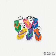 12 Rubber Flip Flop Keychains Bright Color Sandal Luau Pool Party Favors