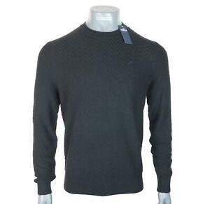 New Men's Hollister Embroidered Textured Jumper Black Medium Large Crew Neck