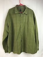 REI Green Plaid Mens 2XL Rayon Polyester Button Front Long Sleeve Shirt