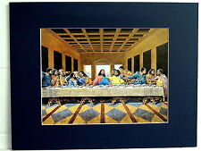 BLACK LAST SUPPER PICTURE ETHNIC  RELIGIOUS MATTED PRINT UNFRAMED 11X14