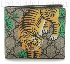 GUCCI Mens BENGAL TIGER GG Supreme Canvas brown Leather Bifold wallet NIB Authen
