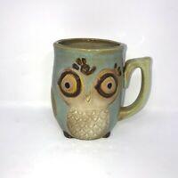 Gibson Home Owl Stoneware Coffee Mug Cup Ceramic Blue Green Glazed 12 oz